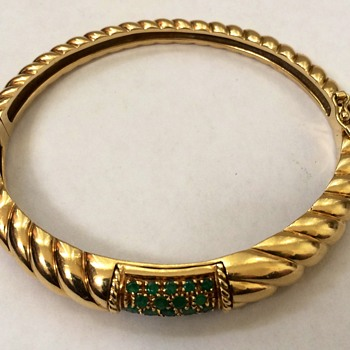 Gold Bangle Bracelet With Emeralds - Fine Jewelry