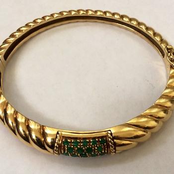 Gold Bangle Bracelet With Emeralds - Fine Jewelry