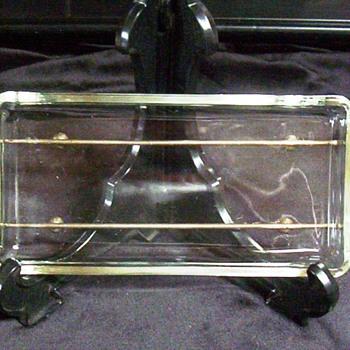 Square Glass Condiment Relish Dish on Metal Tray - Glassware