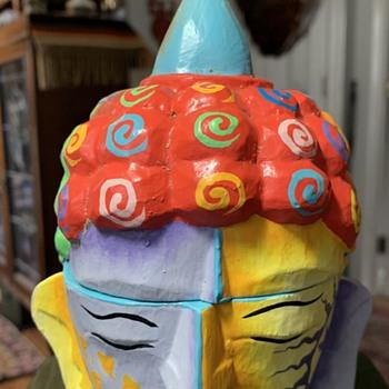 Buddha Head Box - Painted Wood - Asian