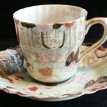 Cup and Saucer - Rare Japanese Kutani Porcelain  - Mouse's Wedding - Fairy Tale