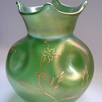 Art Nouveau Vase with Hand Enamelled and Gilded Design.....Part I - Art Glass