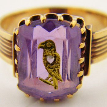 Antique Victorian Amethyst Diamond Mourning 15k Ring Eagle Bird