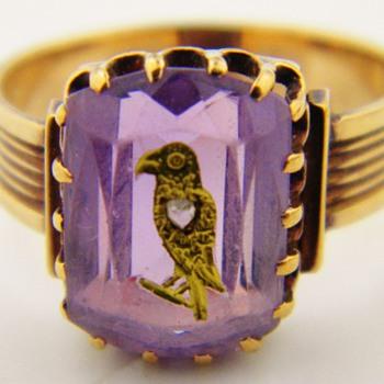 Antique Victorian Amethyst Diamond Mourning 15k Ring Eagle Bird - Fine Jewelry