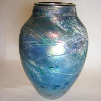 Aurene style modern art glass vase - Art Glass