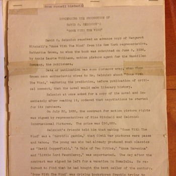 "Russell Birdwell's Document ""Regarding the production of Gone With The Wind""  Is it rare? - Movies"