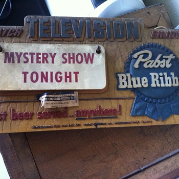 PBR What's on Television Sign - Breweriana