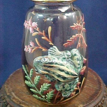 Antique Bohemian Hand Painted Art Glass Vase with Applied Frog - Art Glass