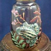 Antique Bohemian Hand Painted Art Glass Vase with Applied Frog