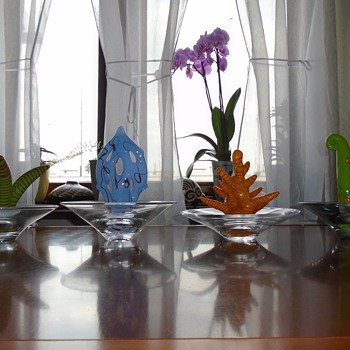 Ales Valner art glass sculptural bowls -- funky Czech art glass - Art Glass