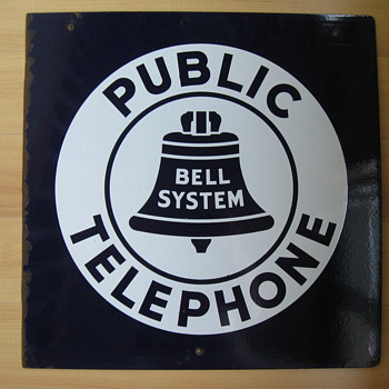 "Bell System Public Phone 18"" Porcelain sign - Signs"