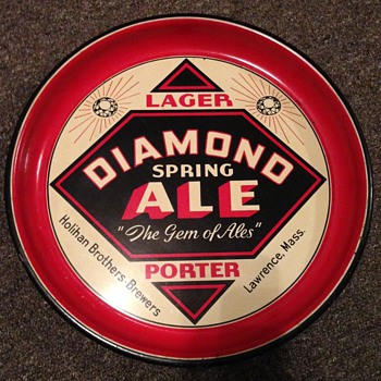 Diamond Spring Ale Beer Tray Lawrence Mass.