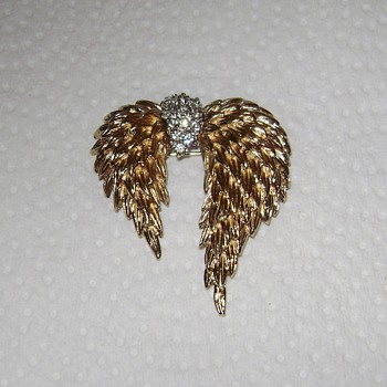Vintage Panetta Brooch - Angel Wings - Swag - Costume Jewelry