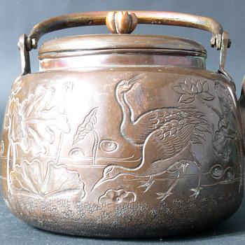 signed copper tetsubin with pegonies, cranes... edo or meiji? - Asian