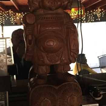 Daikokuten wood statue rare three headed