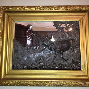 Antique Mirror and silver or bronze curved deer. - Animals