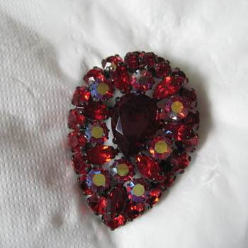 SHERMAN in RED brooch - Costume Jewelry