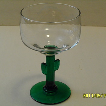 Libbey Green Cactus Stem Margarita Glasses - 12 oz - Set of 4 - Glassware