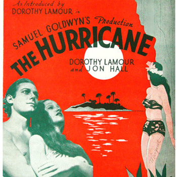 "Movie Sheet Music "" HURRICANE"" 1937, DOTOTHY LAMOUR, JON HALL - Movies"