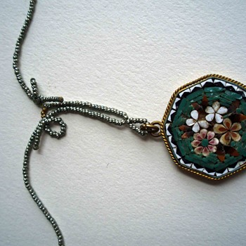 "Mosaic pendant with metallic bead ""chain"" and pin and barrel clasp"