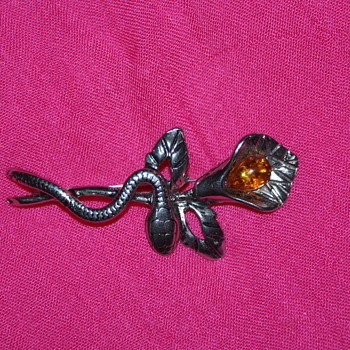 Snake and Flower Costume Pin - Costume Jewelry