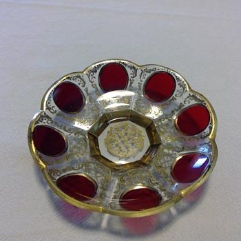 Small Moser Cut Glass Pin Dish - Art Glass