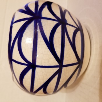 White with blue designs Crackle Pot - Pottery