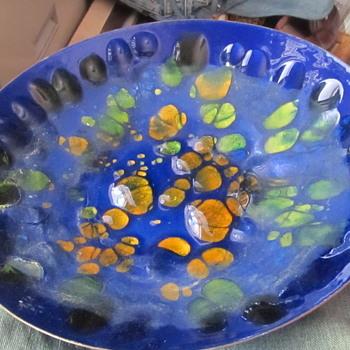 Heavy copper enameled jeweled art plate - Fine Art