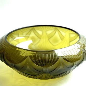 french art deco acid etche gmlass  bowl by  LEGRAS