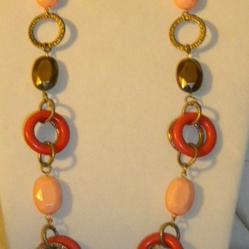 Vintage Unknown Plastic Circle Necklaces