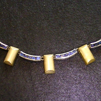 Necklace with blue rhinestones. - Costume Jewelry