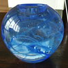 Kosta Boda Blue Swirl Glass Candle Holder