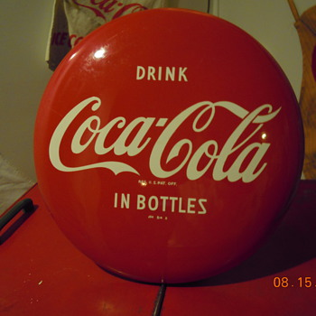 "1950's Coca-Cola 16"" Disc (Button) Sign - Coca-Cola"