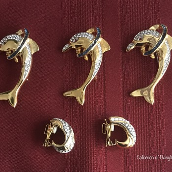 Butler Brooch and Earring Sets — x 3 - Costume Jewelry