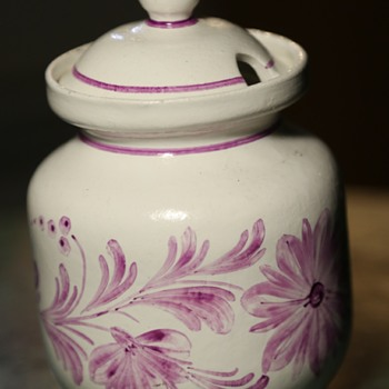 Covered Sugar? Mexican Pottery - Pink and white - Cuernavaca