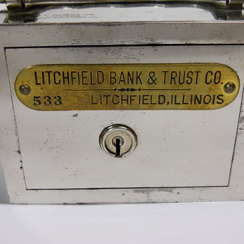 "Promotional Advertising Steel Bank"" Litchfield, Bank & Trust Co, Litchfield, Illinois, Circa 1905 - Advertising"