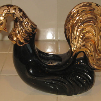 Black Rooster Planter 24K gold  - Pottery