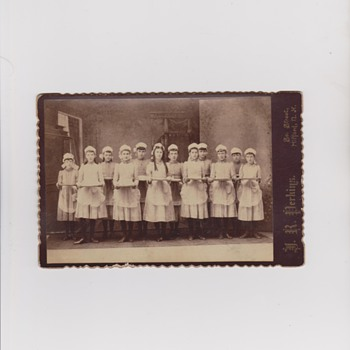 Cabinet Photo of Young Girls Holding Empty Plates - Photographs