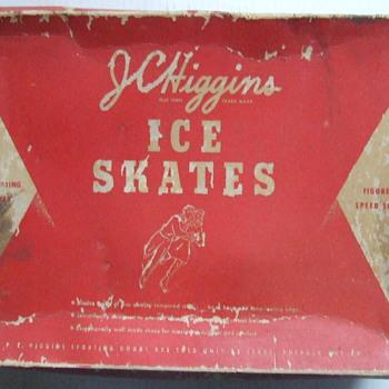 mid 1950's J. C. Higgins ice skates with original box & blade protectors - Sporting Goods