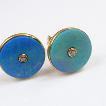 nice opal earrings/studs with diamonds - Fine Jewelry