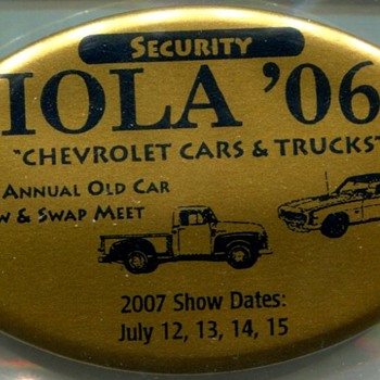 Iola Old Car Show Security Badges - Medals Pins and Badges