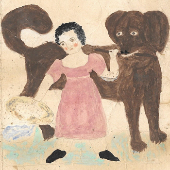 19th Century Folk Art Drawing of a Child and Dog - Fine Art