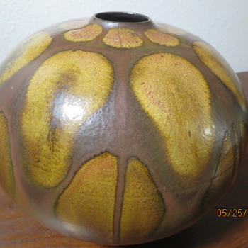 UNSOLVED MYSTERY Metal ? Copper ? Ceramic ? Vase--signed but can not read signature - Pottery