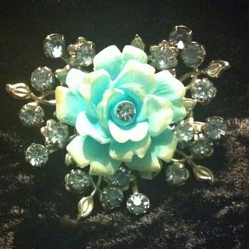 Blue Rose Brooch - Costume Jewelry