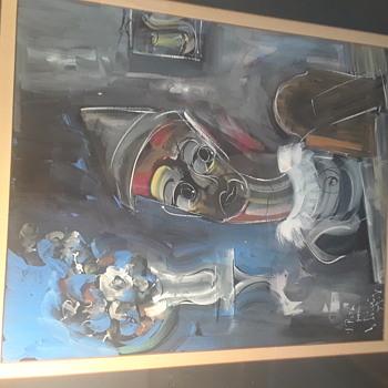 Mid Century  abstract painting - Fine Art