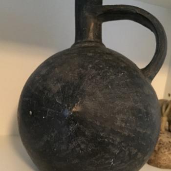 Small Black Clay Vase shaped like a breast - Pottery