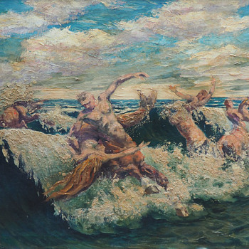 """Centaurs and Mermaids"" Oil Painting by Vladimir Volodia Lazarev (1904-1988) - Fine Art"