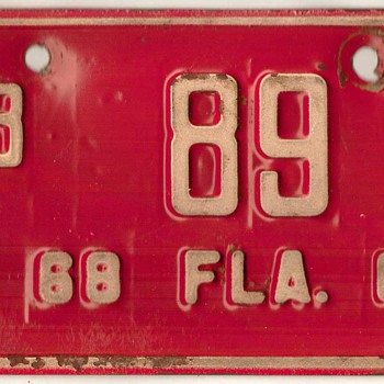 1968-1969 - Motorcycle License Plate (Florida) - Classic Cars