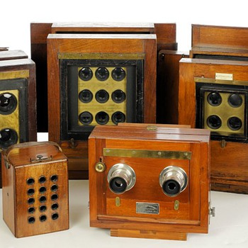 Early Multiple Lens Wood & Brass Field Cameras - Cameras