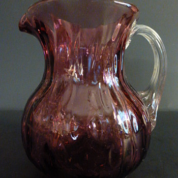 Fenton amethyst optic art glass pitcher with textured handle - Glassware